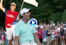 Puños, gritos, lanzar la gorra… Todo vale en el green cuando uno conecta un putt ganador (VÍDEO)