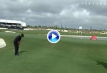 El Golf es duro: Este chip de Tiger se quedó tan corto que la bola volvió casi al mismo sitio (VÍDEO)