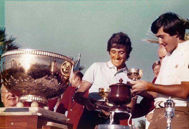 Manolo Piñero y Seve Ballesteros. Primera victoria española en la Copa del Mundo de Golf 1976 en Palm Springs (California)