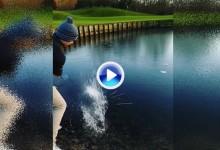 ¡Así, sí! Este golfista encontró la fórmula secreta del Golf sobre hielo: equilibrio+puntería (VÍDEO)