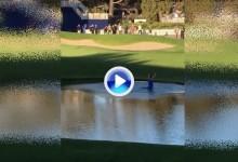 Un aficionado fue el centro de atención el viernes en Torrey Pines, remojón incluido (VÍDEO)