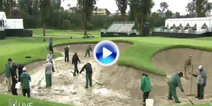 ¿Bunkers anegados? De esta forma se solucionan los problemas en un torneo del PGA Tour (VÍDEO)