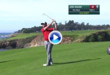 A veces también hay que tener un poco de suerte y Jon Rahm la tuvo en este golpe desde 175m (VÍDEO)