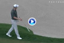 El Golf es duro: Brehm no tuvo su día, la bola salió disparada al agua tras botar en un aspersor (VÍDEO)