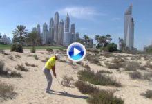 Sergio García saca el puño tras salvar el par sin pisar la calle. El triunfo en Dubai más cerca (VÍDEO)