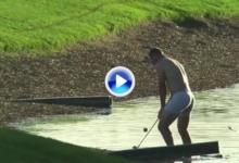 Stefani siguió los pasos de Fdez.-Castaño. Se quedó en calzoncillos para jugar desde el agua (VÍDEO)