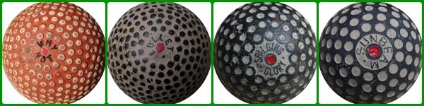 Distintos tipos de bolas utilizados en los primeros años del siglo XX. Algunos fabricantes en pleno desarrollo aerodinámico de las bolas, se decidieron por superficies a base de pequeños bultitos, mientras otros se decantaraon por experimentar con los primeros hoyuelos