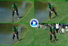 El Golf es duro: Stenson necesitó de ¡4 golpes! para salir del hazard y acabó pateando descalzo (VÍDEO)