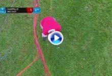 Jorge Campillo exhibió su juego corto con este gran chip desde el rough y entre cables de TV (VÍDEO)