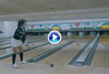 Una jugadora del LPGA derriba los bolos con su driver en un Trick Shot de lo más original (VÍDEO)