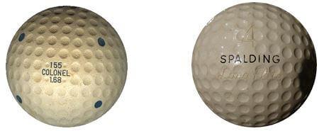 Izquierda: Bola COLONEL 155 fabricada en 1931 por St. MUNGO MANUFACTURING Co, coincidiendo con la regulación de la USGA a 1.68 pulgadas. Obsérvese la inscripción 1.68 debajo de la marca. Derecha: Bola SPALDING de finales de los años 1940's, también del tipo grande de 1.68