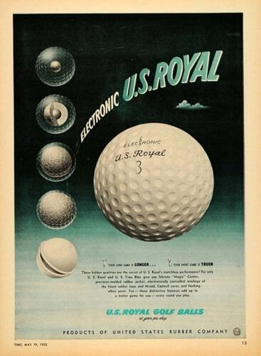 Anuncio de bola grande (1.68) de 1952 mostrando el núcleo y capas