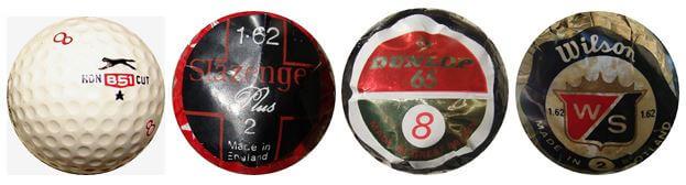 Algunos tipos de bola pequeña de los años 1950's y 1960's de los principales fabricantes británicos. Fíjese la anotación 1.62 en algunos de los envoltorios