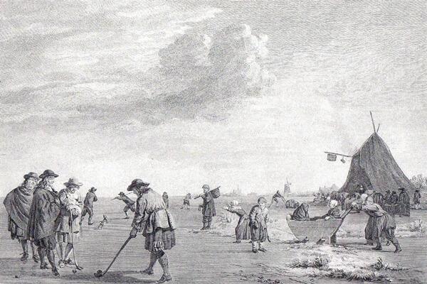 """Cuadro holandés del siglo XVII donde se ve un grupo de jugadores practicando el """"Kolf"""""""