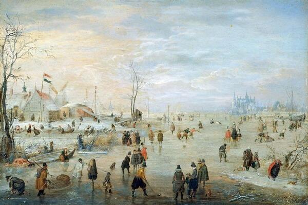 En invierno se jugaba también sobre ríos helados, como muestra la pintura