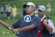 El Golf es duro: Woo Kim sufrió en sus carnes la crueldad de dos grandísimas corbatas (VÍDEO)