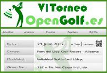 ¡Ya ha llegado la 6ª edición del Torneo OpenGolf! Font del Llop (Alicante) se vestirá de gala el 29-J