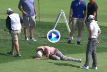 Imágenes que asustan. Lucas Glover se lesionó en la rodilla mientras realizaba el swing (VÍDEO)