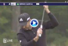 Sergio García rompe su putt frustrado por un mal golpe en el hoyo 4 del TPC Boston (VÍDEO)