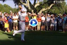 Espectacular tirazo de Sergio en el último hoyo a pesar de resbalar antes de golpear la bola (VÍDEO)