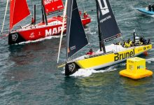 Team Brunel gana una increíble Mirpuri Foundation In-Port Race Lisboa. Se necesitó foto-finish