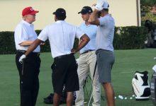 Tiger, DJ y Faxon jugaron al golf junto al presidente de los EE.UU., Donald Trump en Jupiter, Florida