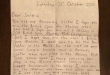 """Un joven seguidor envía una carta a Sergio Garcia, su """"jugador favorito"""", y este la publica en las redes"""