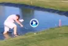 A este amateur estuvo a punto de engullirlo el lago ¡Cuidado desde donde golpeamos la bola! (VÍDEO)