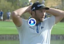 El Golf es duro… también para Jon. Sufrió una corbata de 360º tras un putt perfecto (VÍDEO)