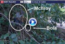 McIlroy intentó emular el genial golpe de rodillas del gran Seve, pero se quedó a las puertas (VÍDEO)