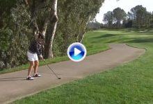Cristie Kerr jugó desde el asfalto en el LPGA KIA Classic, pero no pudo evitar el doblebogey (VÍDEO)