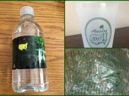 De locos: Bolsas y vasos y ¡hasta botellas de agua! del Masters. Todo se vende y colecciona en Ebay
