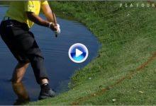 Matsuyama jugó un gran golpe en Bay Hill con un pie dentro del agua y con el otro fuera (VÍDEO)
