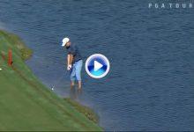 ¿Droparse, para qué? Kevin Streelman jugó la bola desde dentro del agua para sacar el par (VÍDEO)