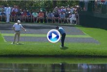 El público rugió con este golpe de Olazábal en el 16. La bola rebotó hasta ¡5 veces en el agua! (VÍDEO)