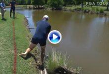 A Rose no le preocuparon los alligators, se quedó en calzoncillos y pegó la bola desde el agua (VÍDEO
