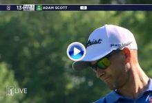 El Golf es duro… Scott firmó un triplebogey en el hoyo 13 (par3) tras visitar dos veces el agua (VÍDEO)