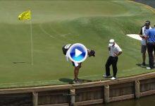 El Golf es duro… El 17 se la jugó a Harman, no se fue al agua pero… se fue con doblebogey (VÍDEO)