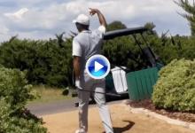 """Woods """"vaciló"""" a la campeona mundial de distancia con el driver con un misil en el Tiger Jam (VÍDEO)"""