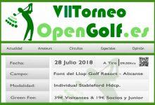 ¡Llega la VII edición del Torneo OpenGolf! Font del Llop (Alicante) se engalana con la vista en el 28 Jul