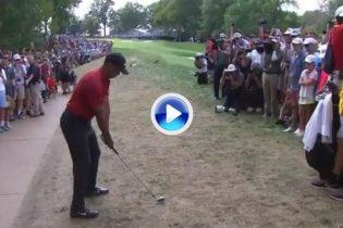 Tiger Woods puso patas arriba Bellerive con este golpazo desde la tierra desde 150 metros (VÍDEO)