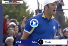 ¡Cuánta emoción! Jon Rahm se desató al embocar el putt que le daba la victoria frente a Tiger (VÍDEO)