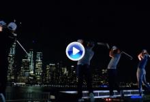 Ocho golfistas de élite se citan sobre el río Hudson para una original prueba de puntería (VÍDEO)