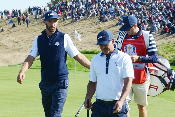 Dustin Johnson y Brooks Koepka durante los Fourballs del sábado. Foto OpenGolf.es