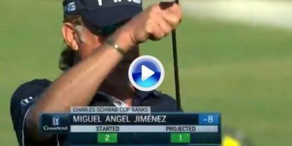 """Y Jiménez volvió a """"envainar"""" su putt tras anotar su 3er. birdie seguido ¡así se acaba una ronda! (VÍDEO)"""