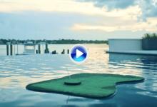 Koepka ensayó con este mini Island Green para los retos que se avecinan en esta temporada (VÍDEO)