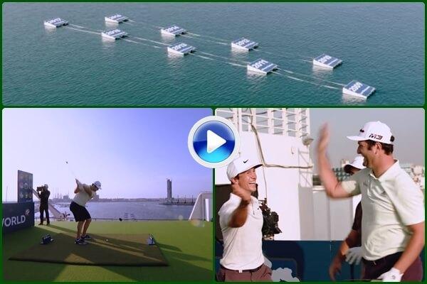 Espectacular reto de Rahm, Molinari y Olesen desde la cubierta del Queen Elizabeth II (VÍDEO)