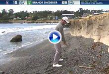 Golpazo de Snedeker desde la playa de Pebble Beach. Estuvo a punto de irse al océano (VÍDEO)