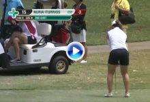 Nuria Iturrioz dejó la bola dada con esta maravilla de golpe. Un birdie que podría ser vital (VÍDEO)