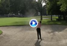Alucinen con el golpazo del día a cargo de Tiger, que llevó la bola al green desde la arena (VÍDEO)